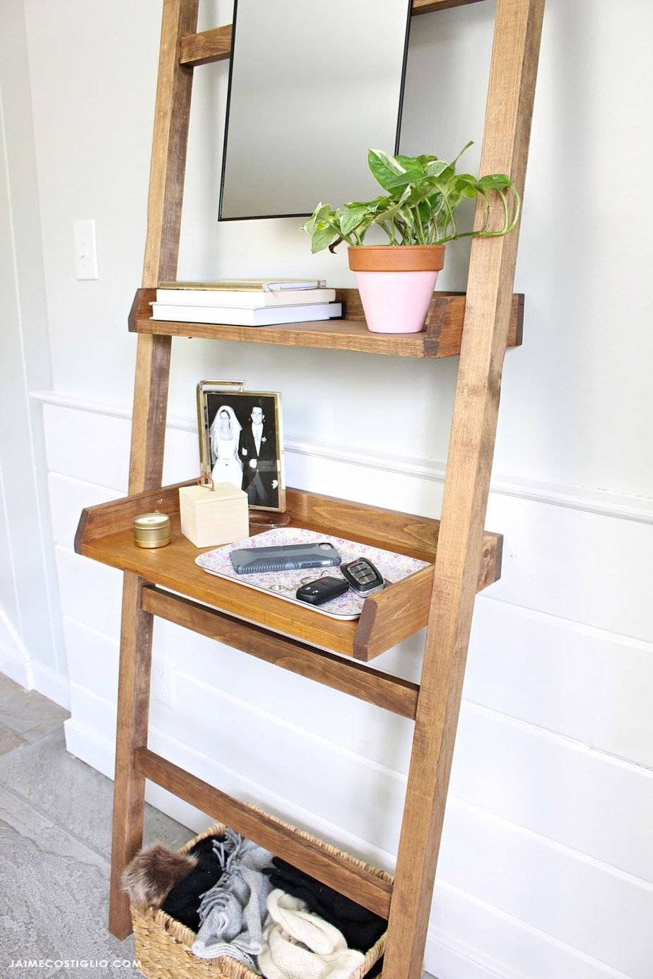 leaning entry shelf with mirror