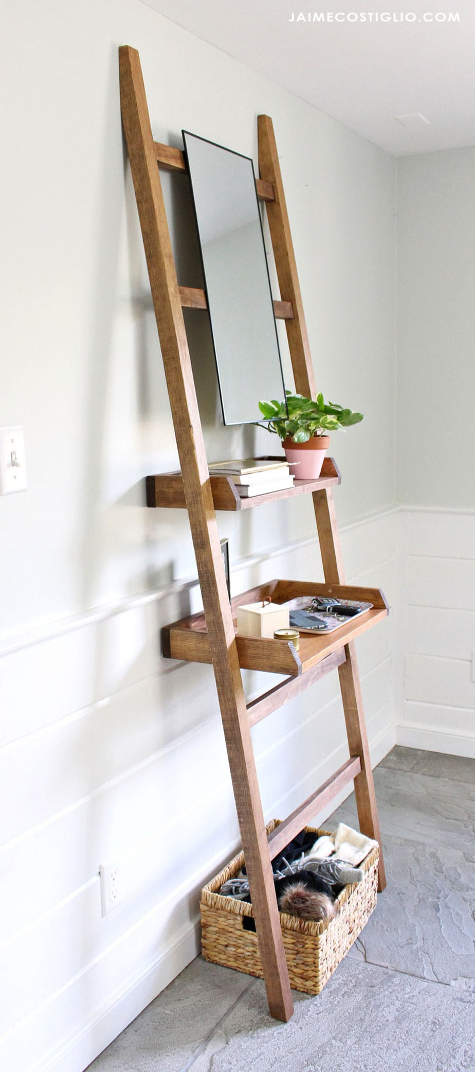 diy leaning shelf with mirror