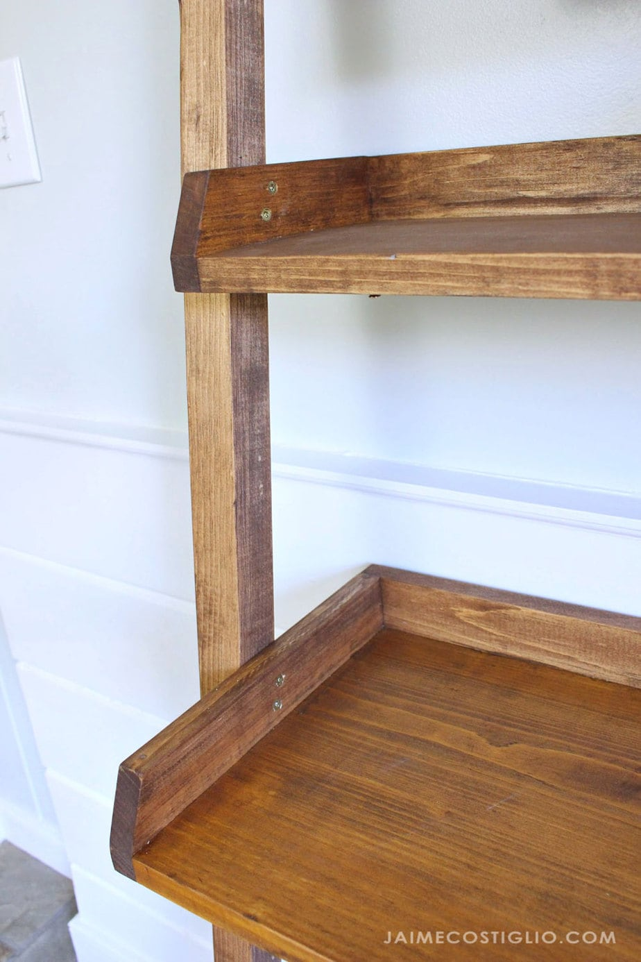 attach shelves with two screws