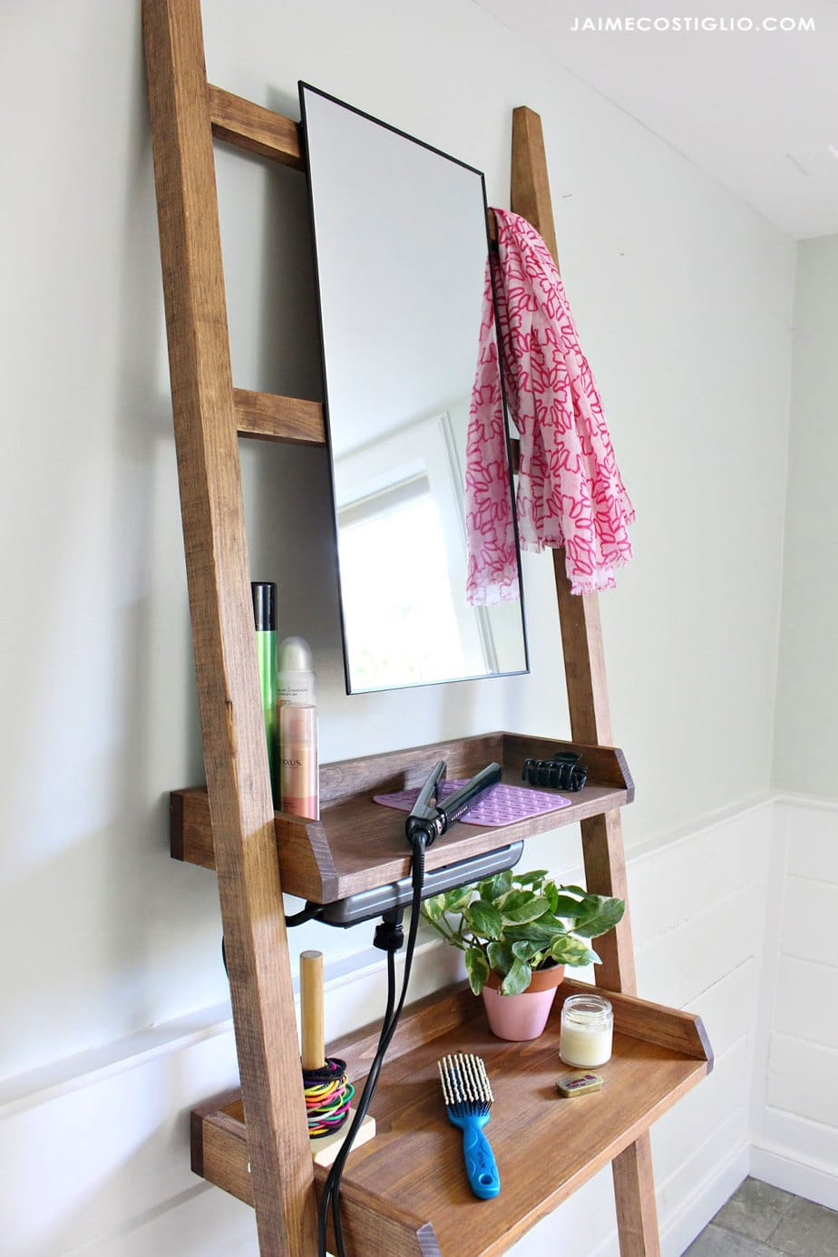 leaning vanity with mirror