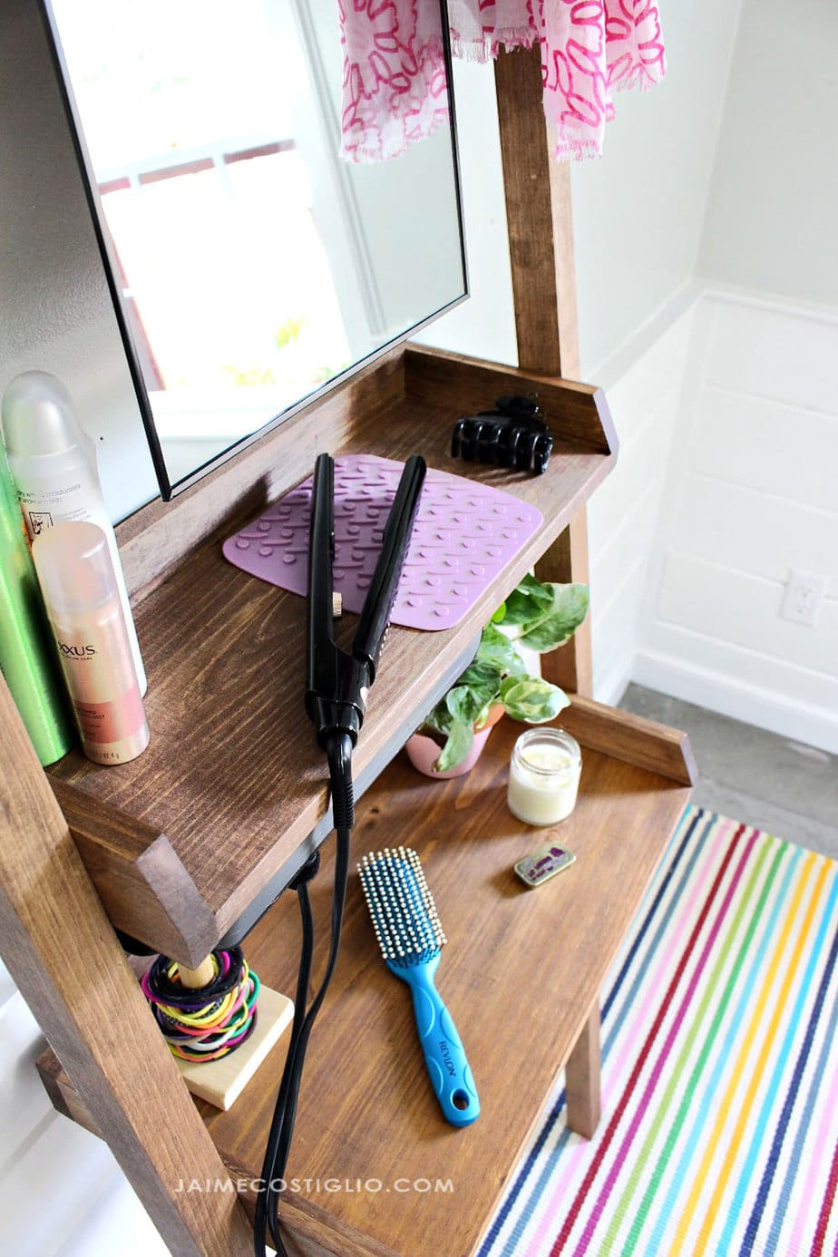 diy leaning vanity with shelves