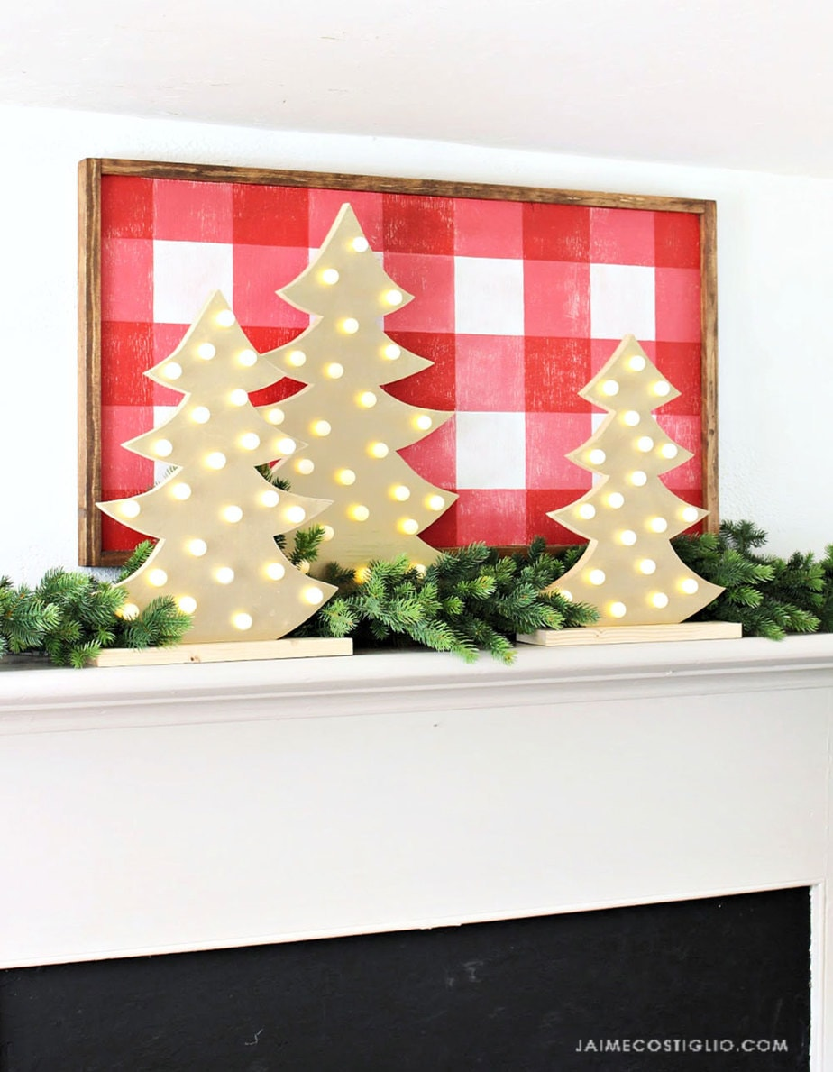 diy light up trees on mantel