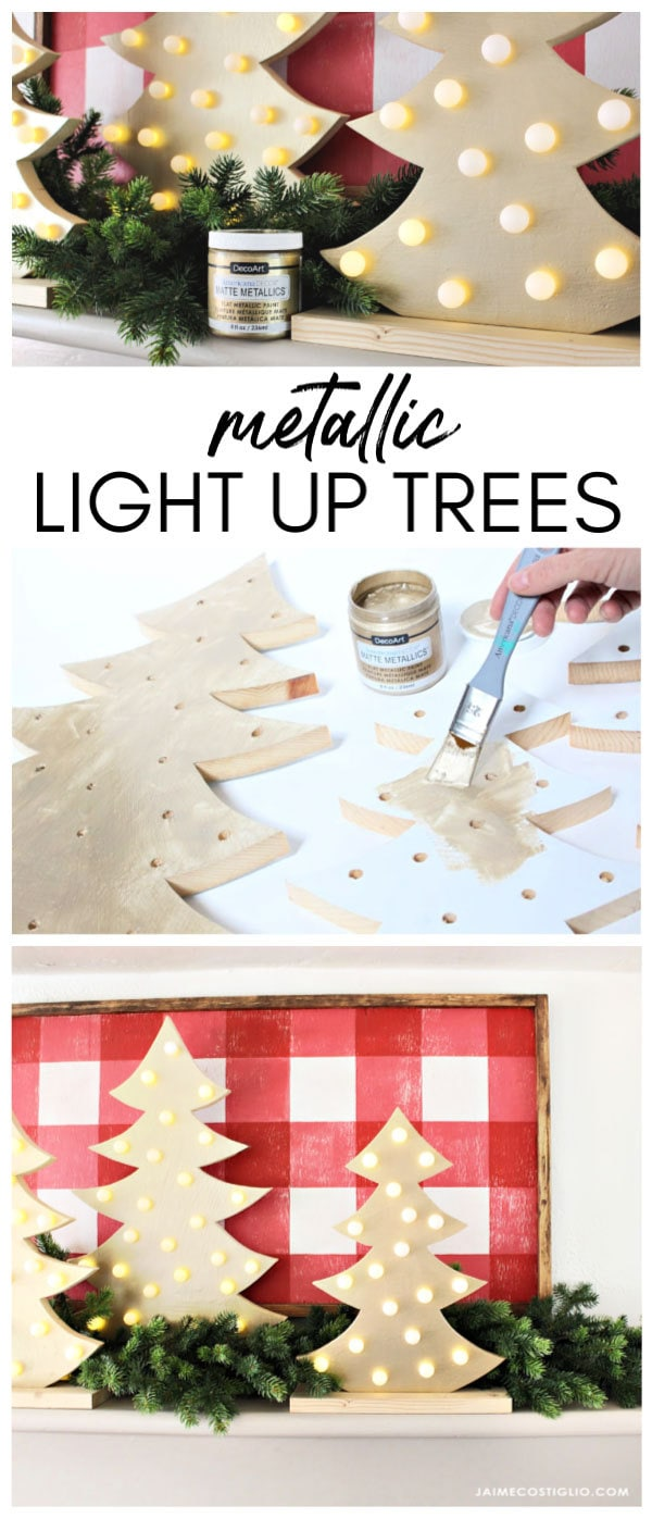 diy metallic light up trees tutorial