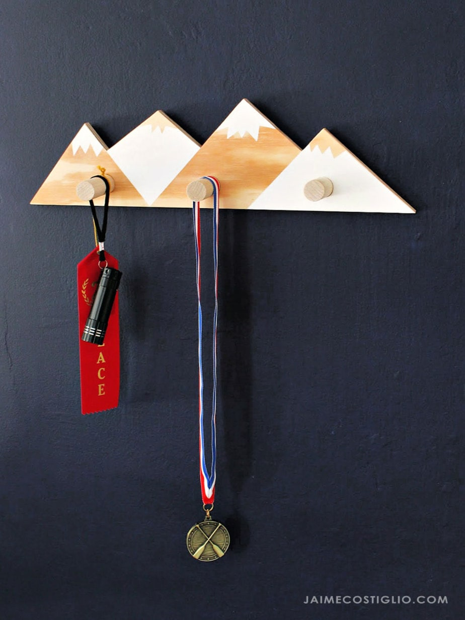 wood hooks with mountains