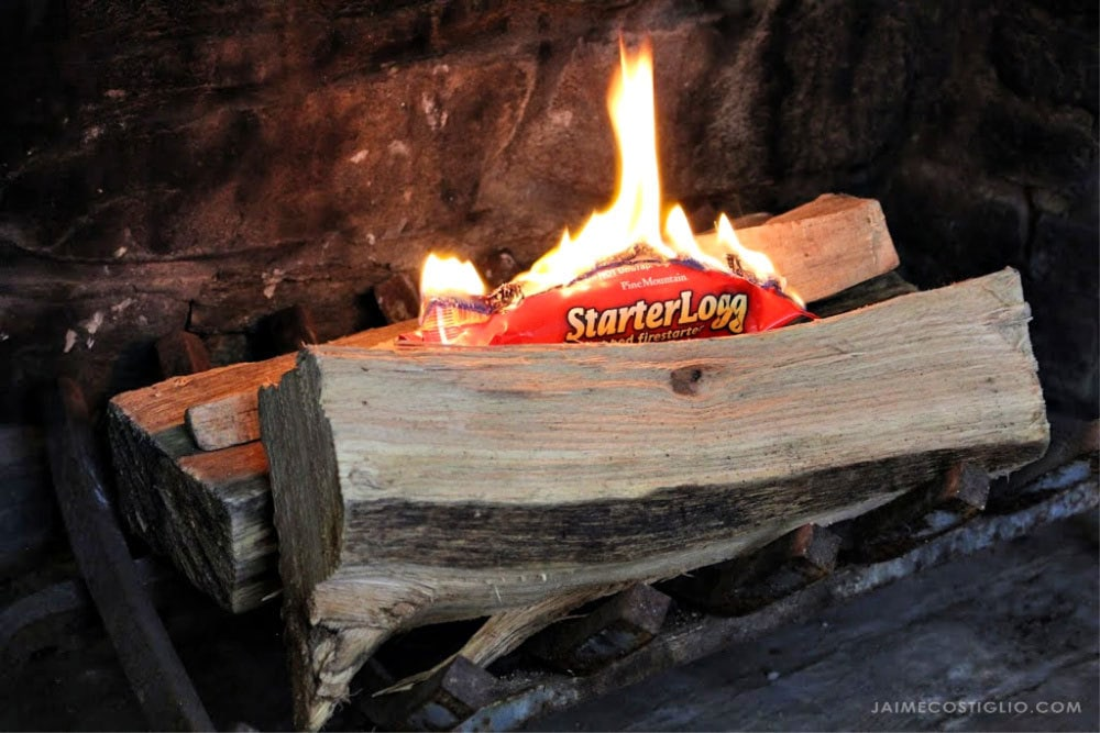 fire starter logg on wood logs