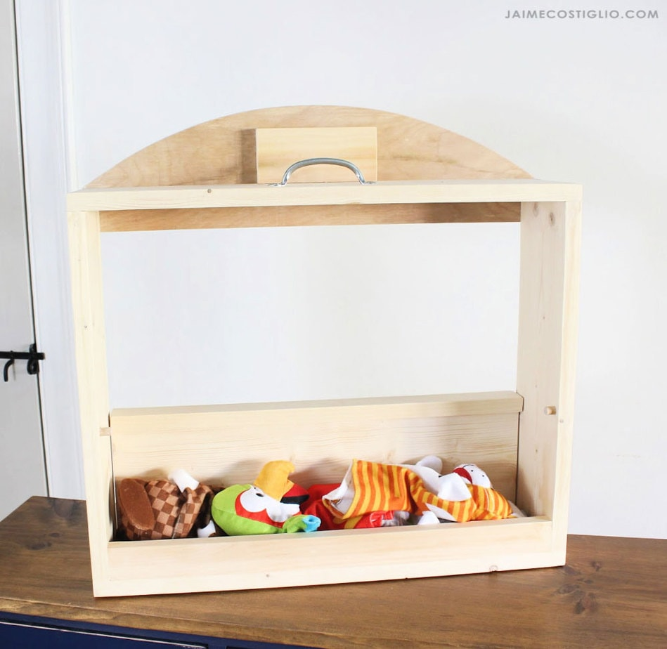 tabletop puppet theater interior storage