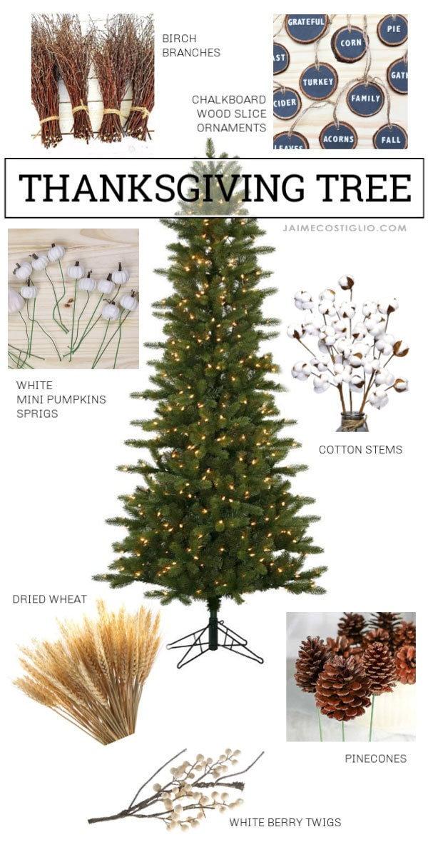 thanksgiving tree with ornaments collage