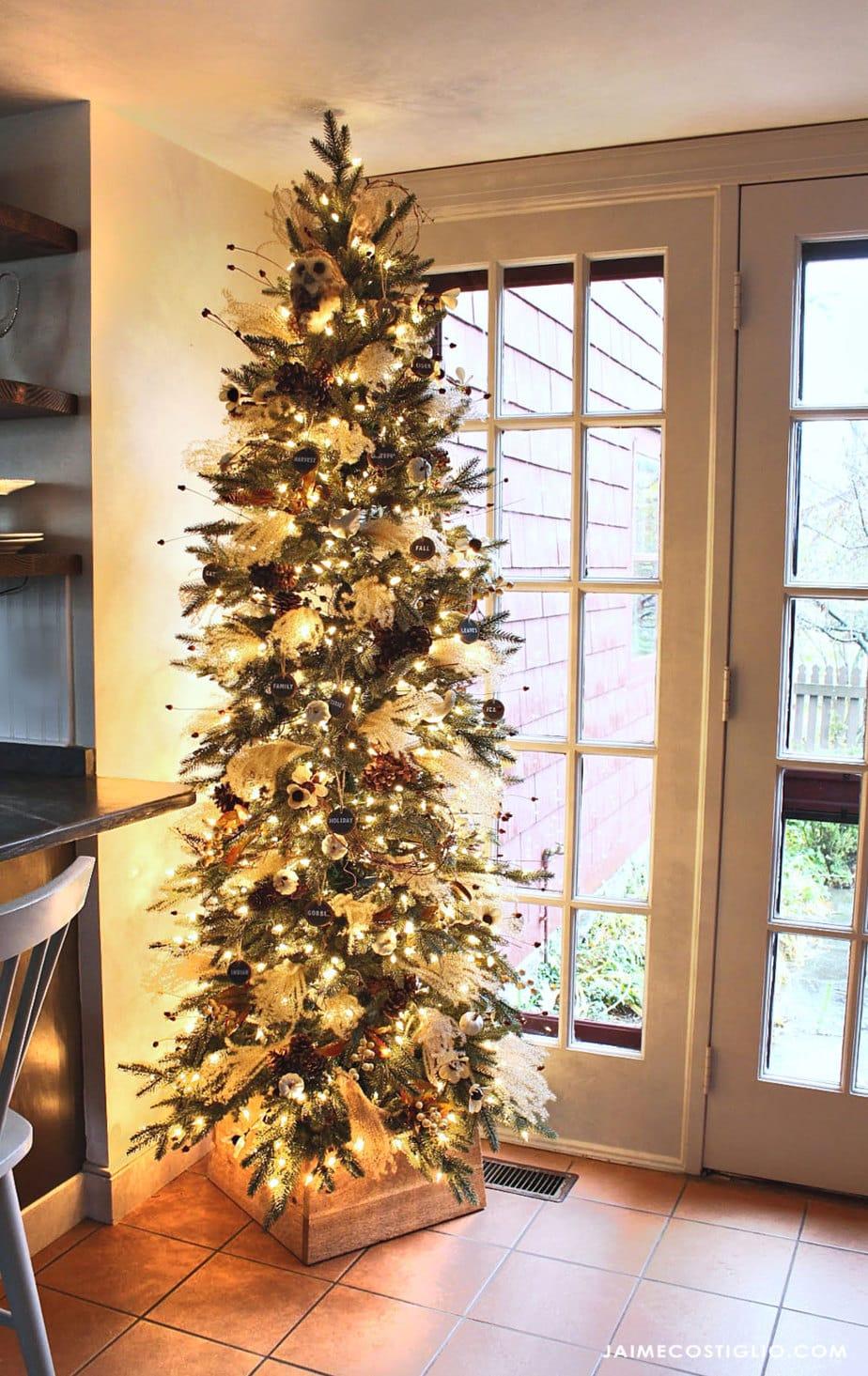 slim thanksgiving tree in corner