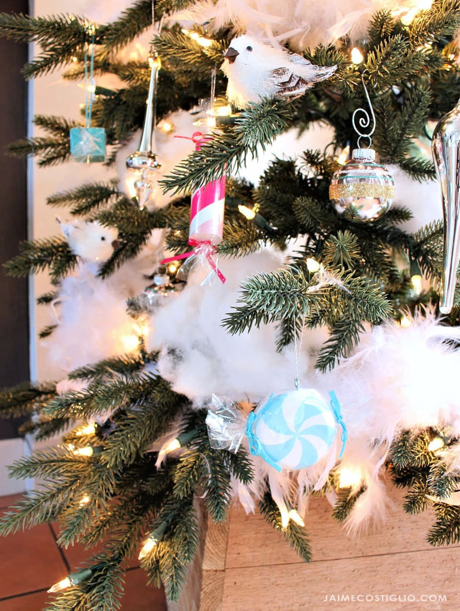 wood candy ornaments and snow tree