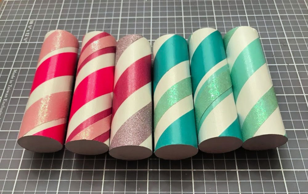 scrap wood dowels wrapped with washi tape
