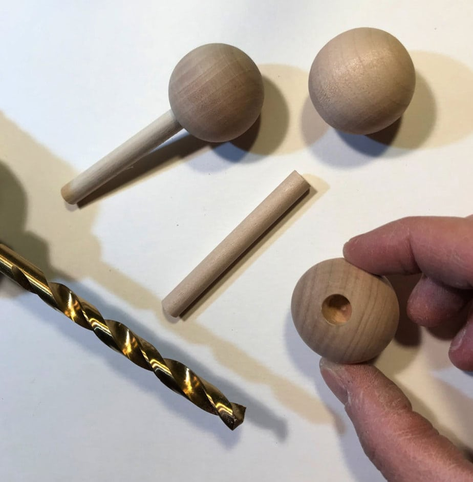 wood balls with hole for lollipop stick