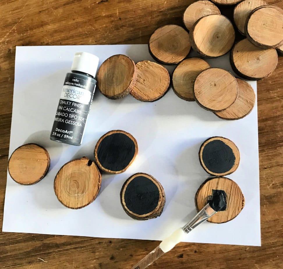 wood slice chalkboard ornaments