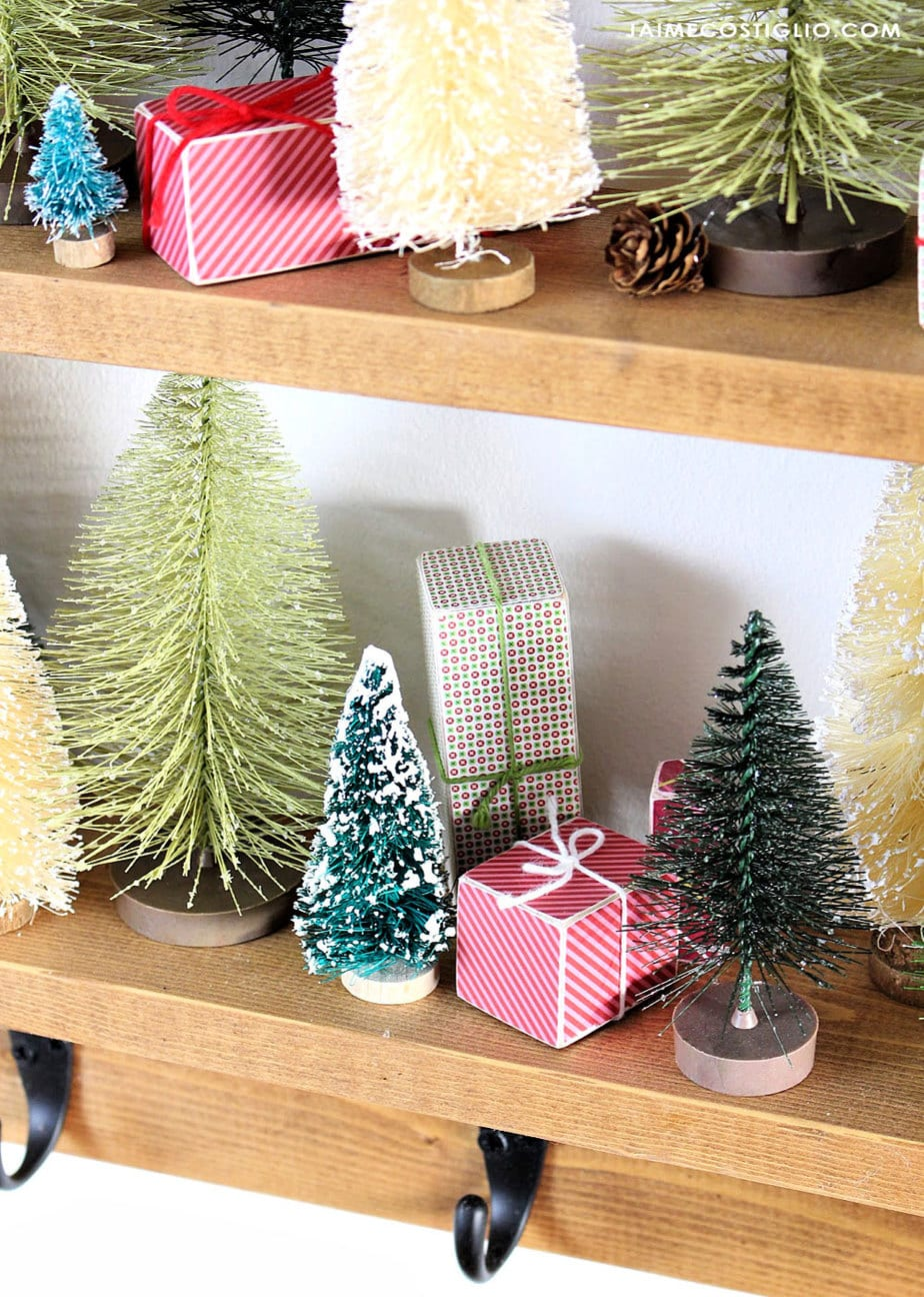 bottle brush trees with mini wood gifts
