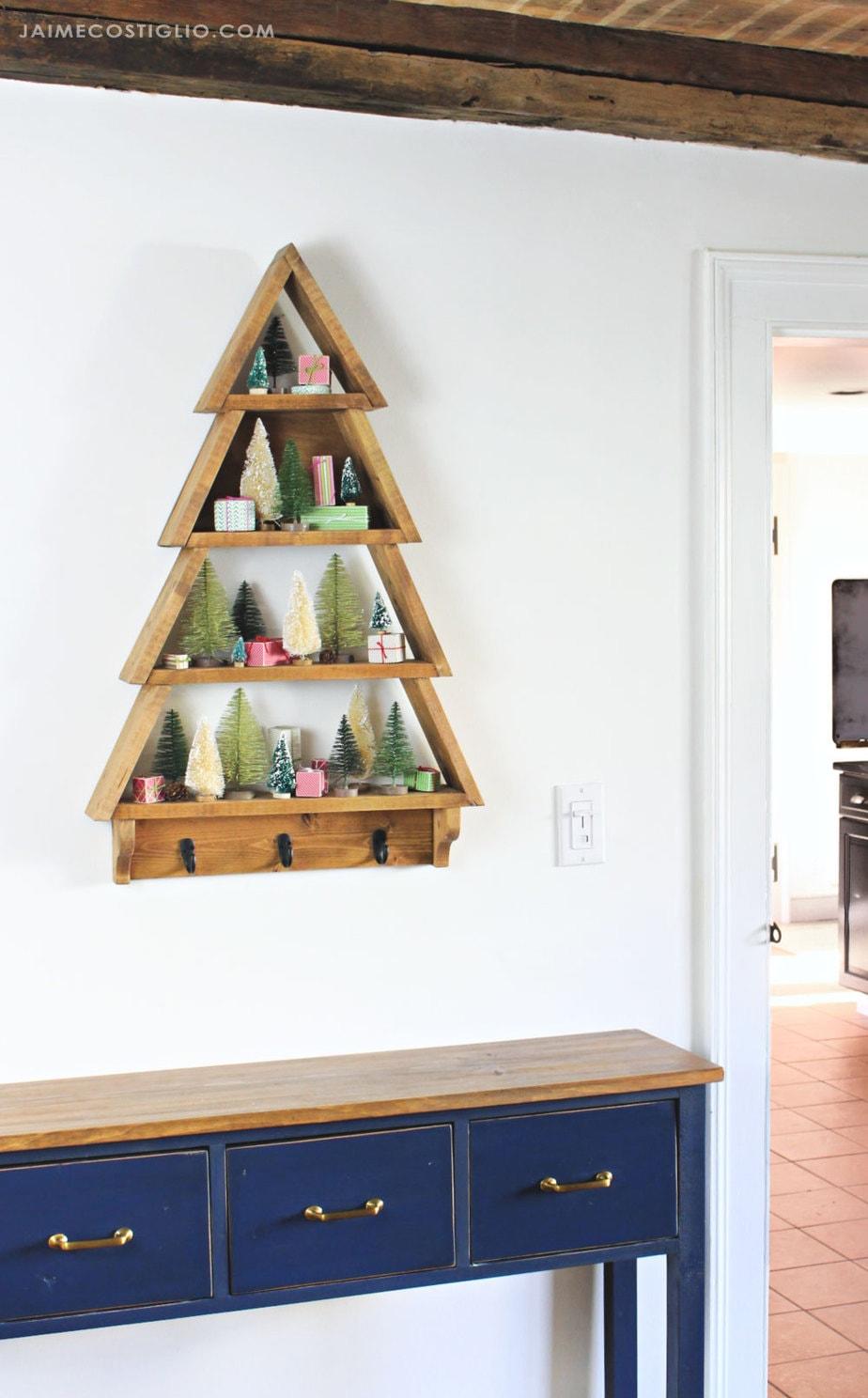 tree shelf with bottle brush trees