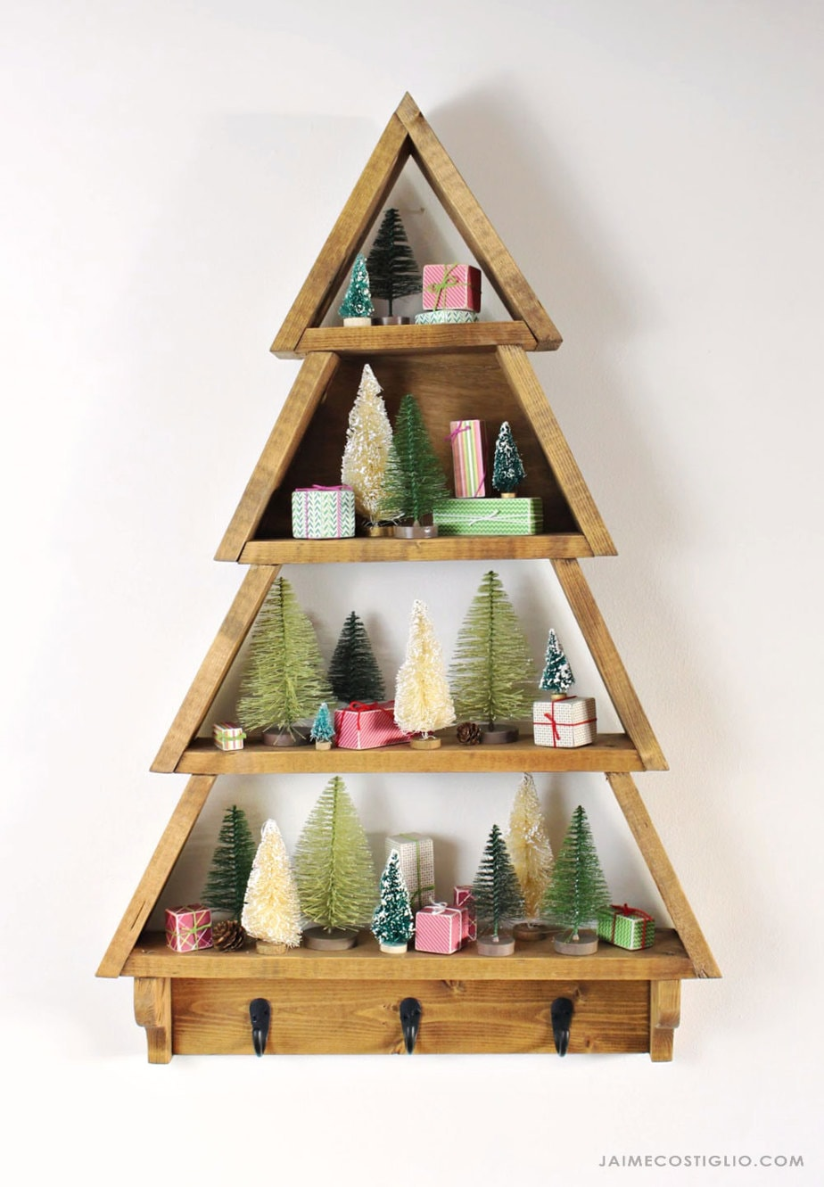 diy tree shelf with bottle brush trees and mini gifts