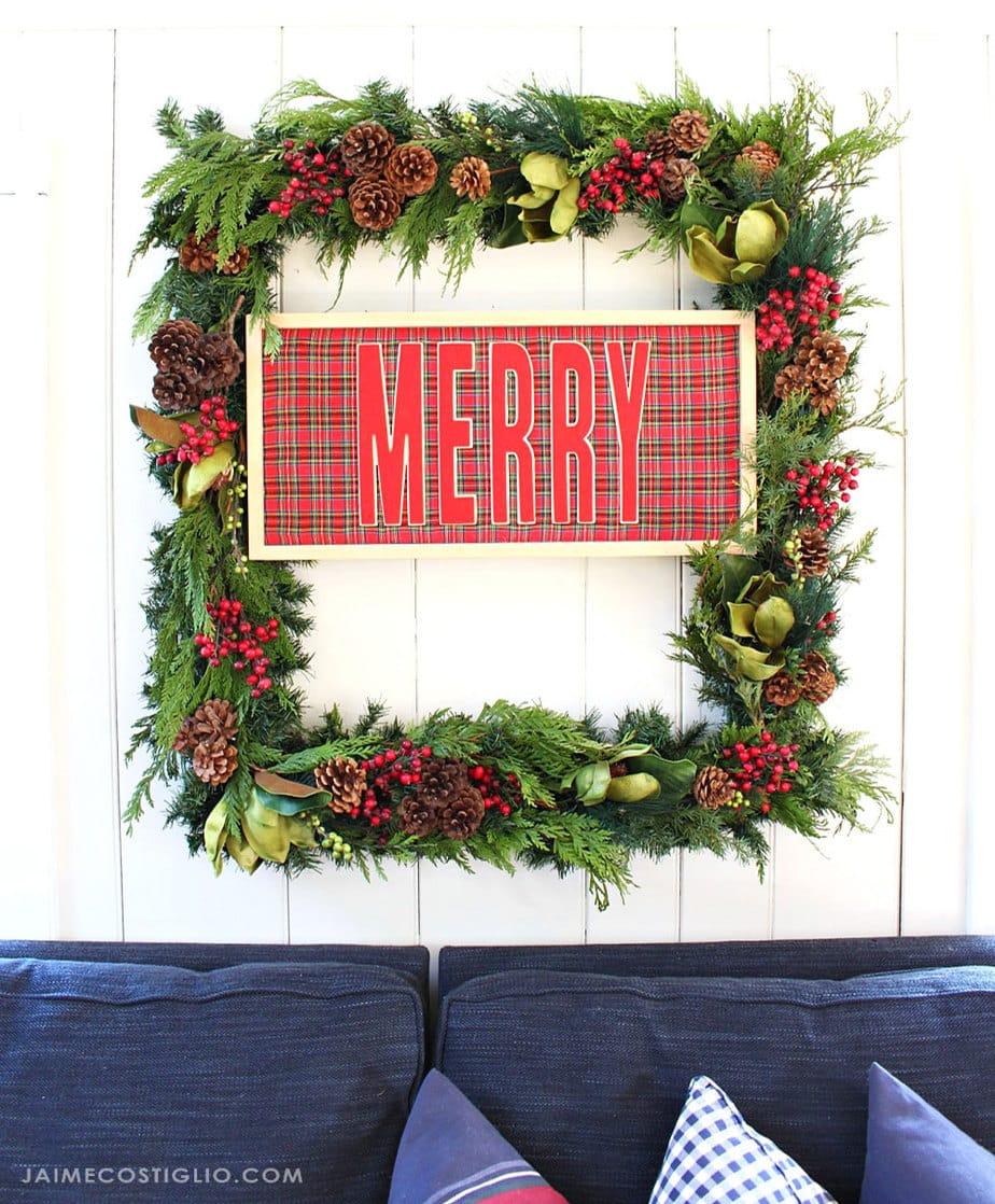 diy rectangular merry wreath