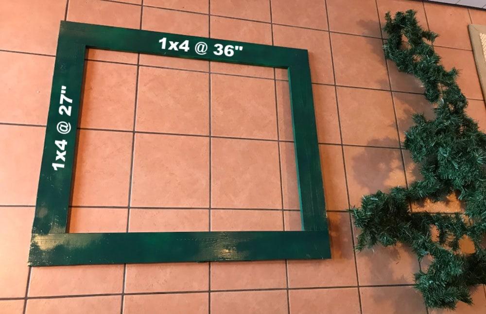 wood rectangular frame for wreath