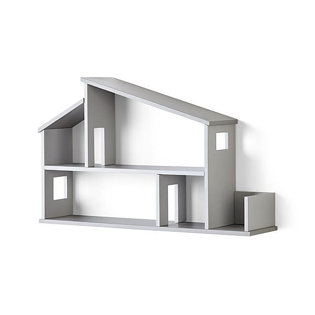 crate and barrel wooden house shelf