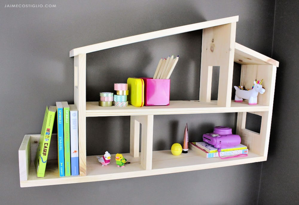 diy house shaped wall shelves