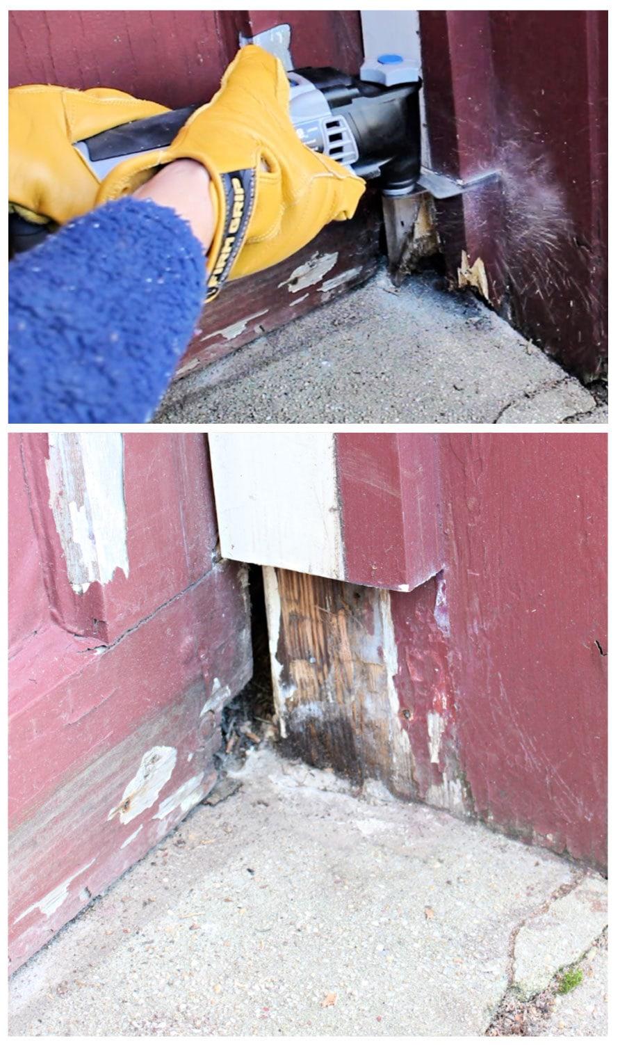 garage frame repair using dremel oscillating tool