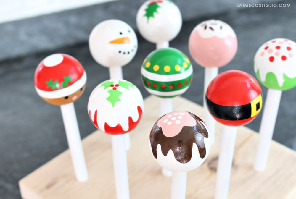 christmas painted cake pops