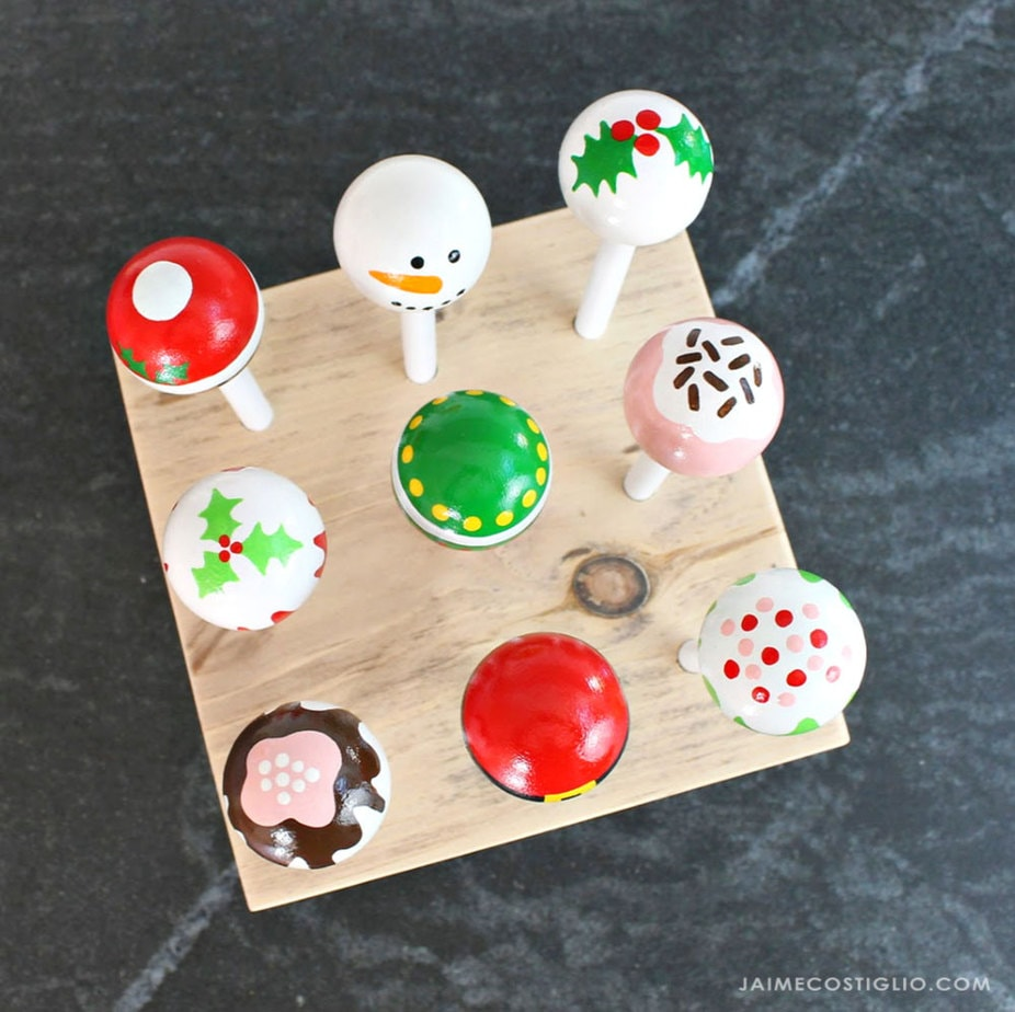 cake pops in wood stand