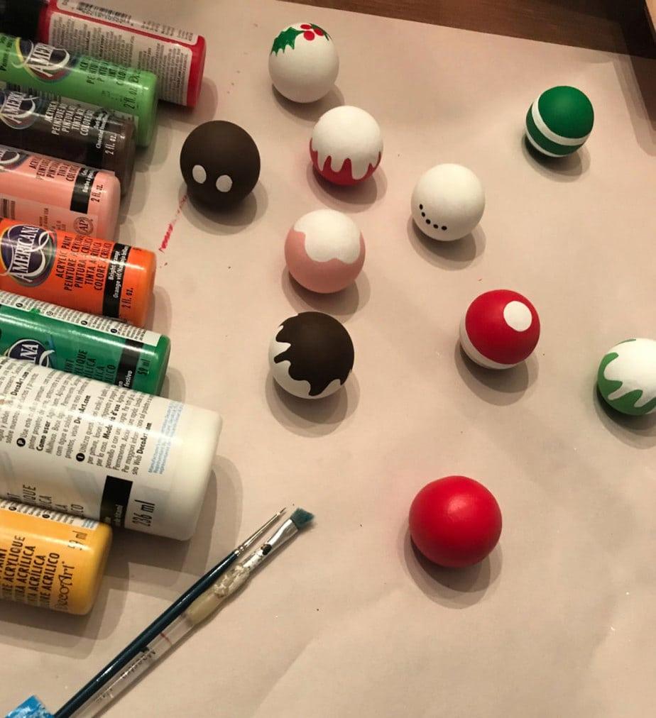 painting wood balls