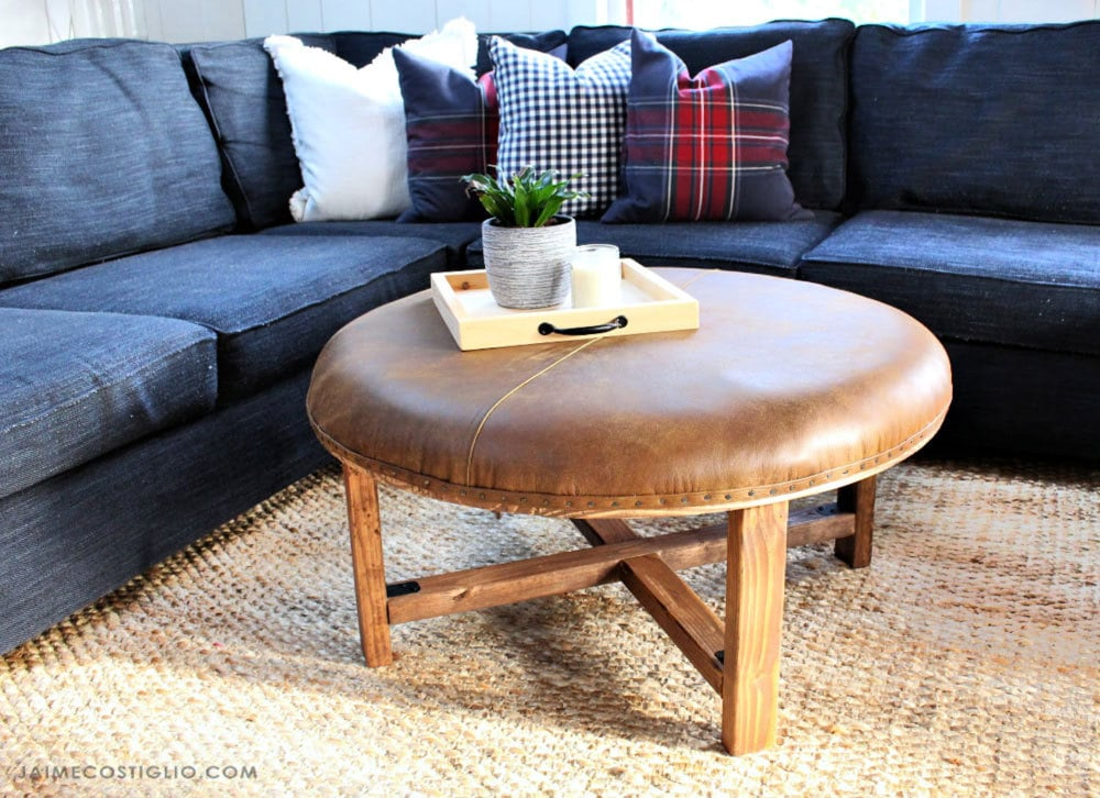 DIY Round Leather Upholstered Ottoman - Jaime Costiglio