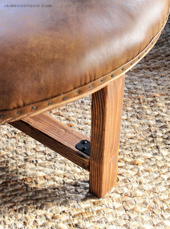 leather ottoman leg detail