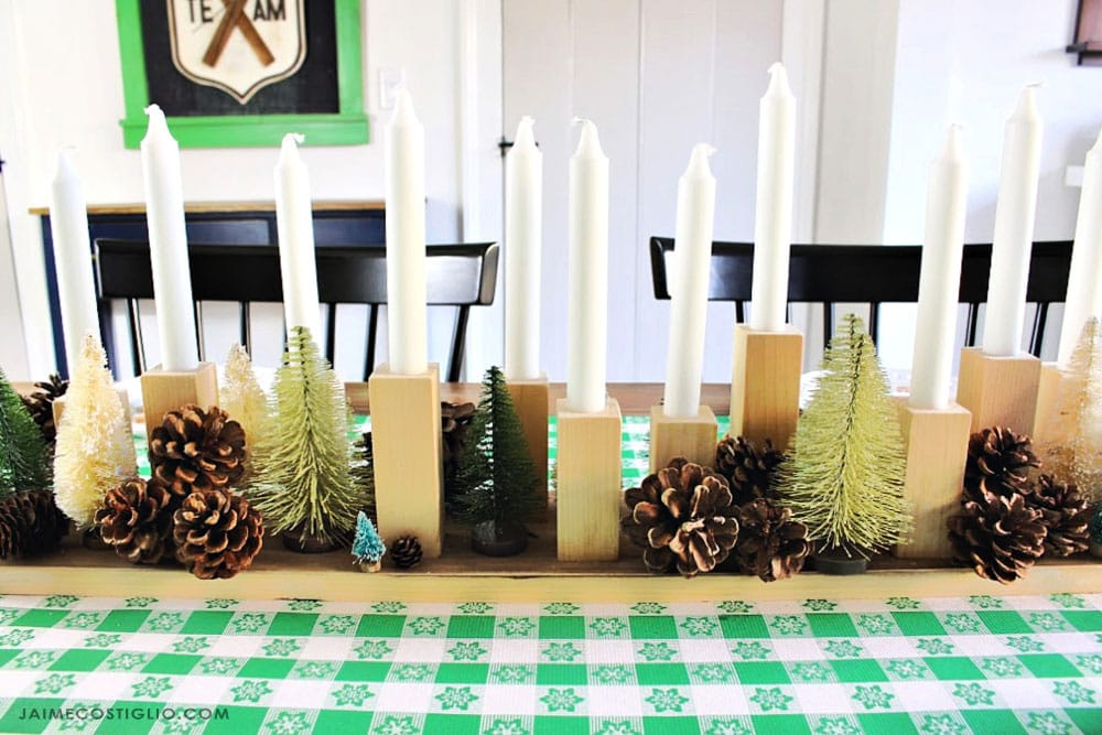 winter candle table centerpiece