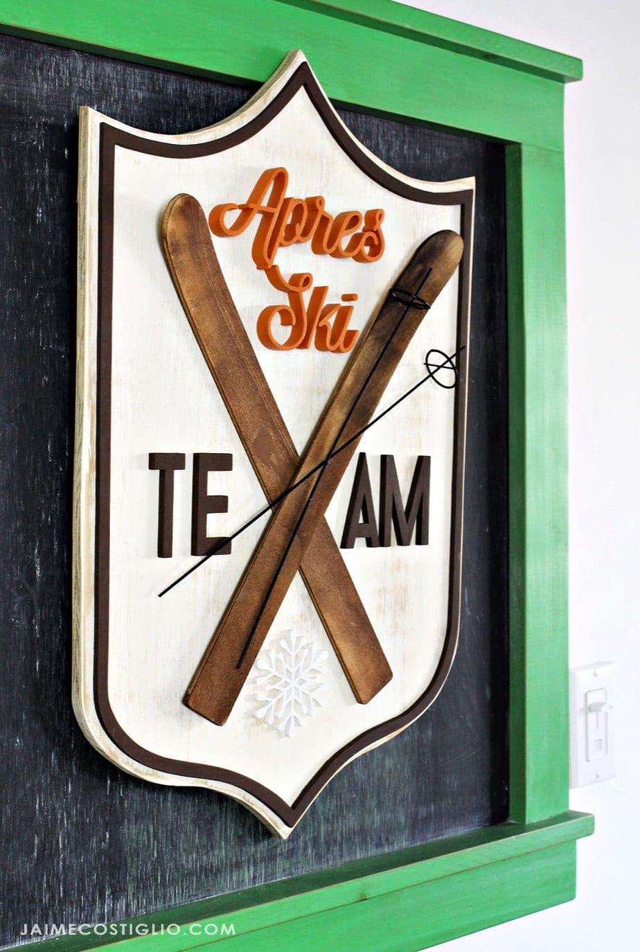 apres ski scrolled wood plaque
