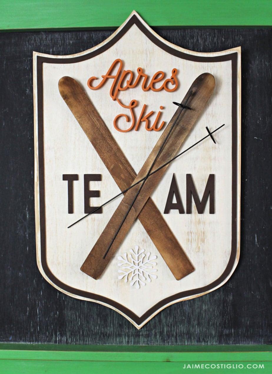 winter ski team wood sign
