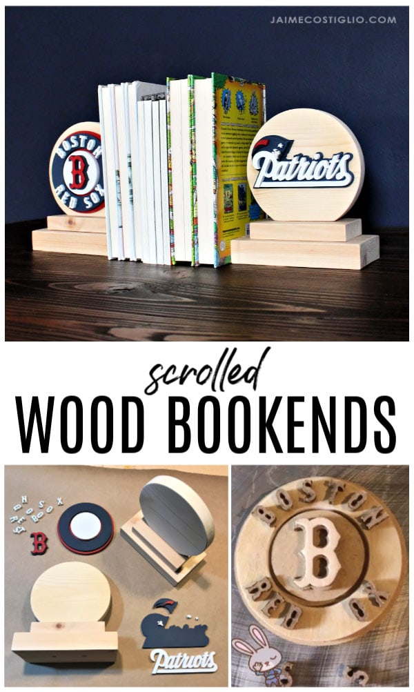 diy scrolled sports logo bookends