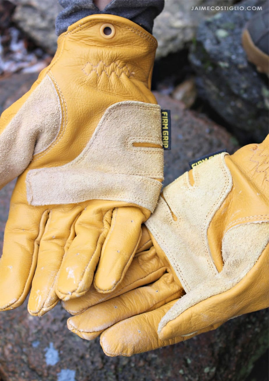 palm side firm grip leather gloves