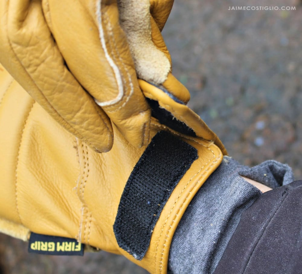 velcro closure firm grip leather gloves