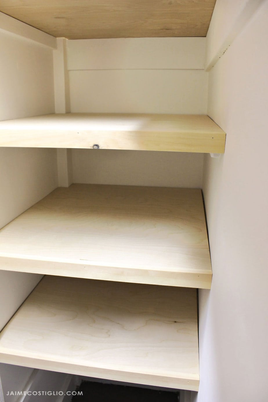 hall linen closet shelves