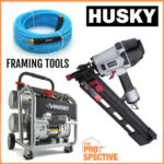 Husky Framing Nailer, Hose & Air Compressor