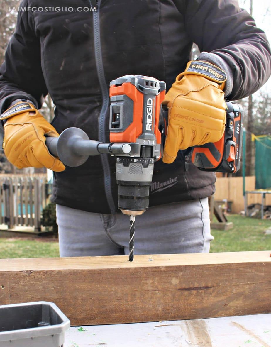 ridgid hammer drill drilling into wood
