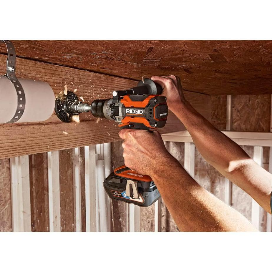 ridgid hammer drill drilling through joist