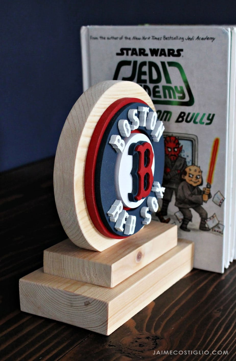scrolled wood bookend boston red sox