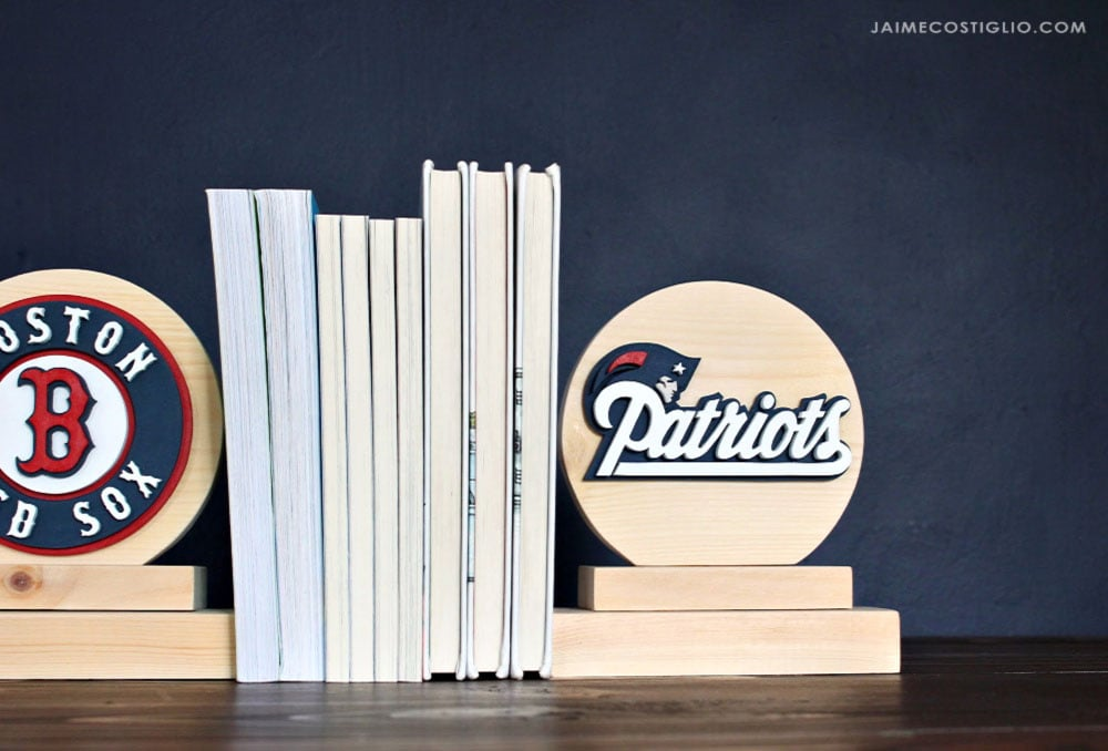 scrolled wood bookends with boston logos