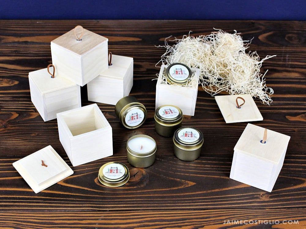 wood boxes with small candle