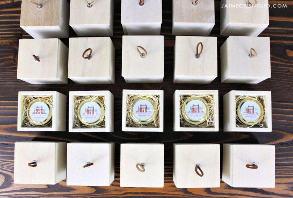 custom candles inside wood gift boxes