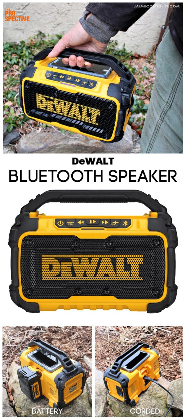 dewalt bluetooth speaker collage