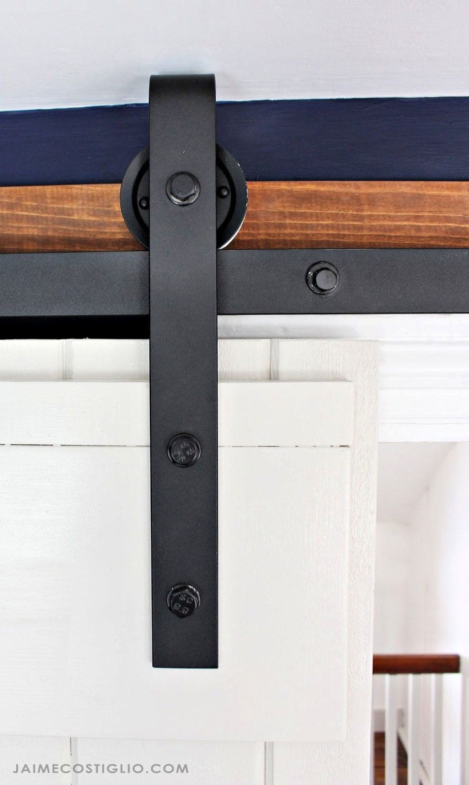 detail sliding barn door hardware installed