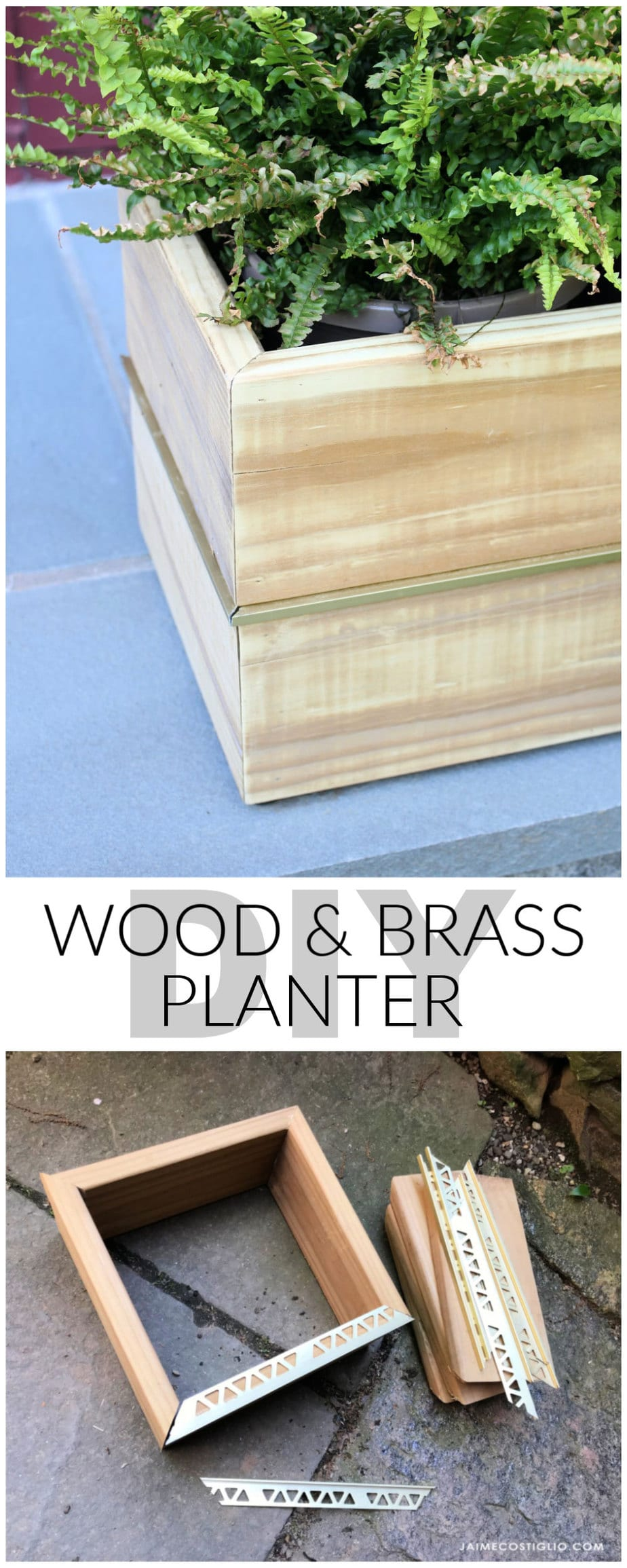 diy wood and brass planter plans