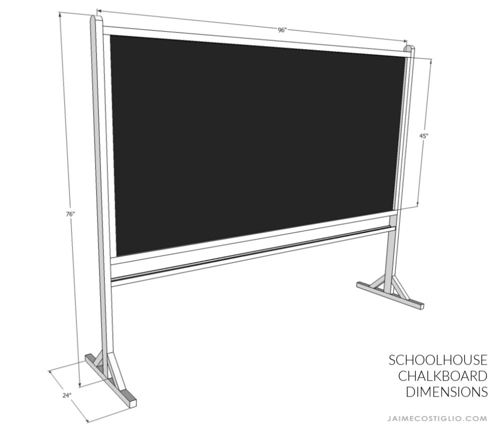schoolhouse chalkboard dimensions