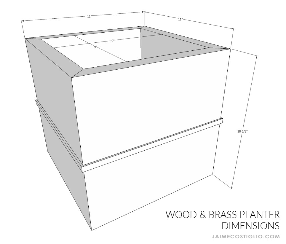 wood and brass planter dimensions