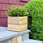 DIY Brass and Wood Outdoor Planters