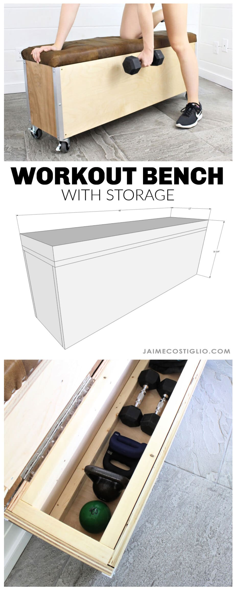 diy workout bench with storage free plans
